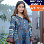 Libas Printed Cotton 3 Piece Un-Stitched Suit - 1B