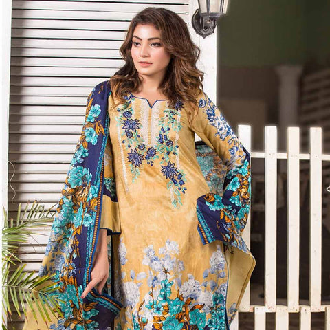 Iraar Embroidered Lawn 3 Piece Un-Stitched Suit - 1B