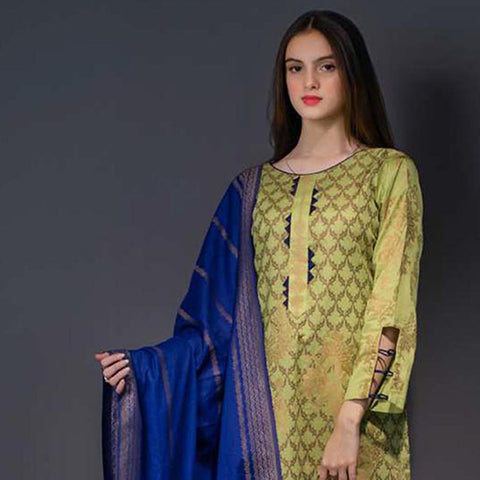 RA Jacquard Cambric 3 Piece Un-Stitched Suit Vol 1 - 1
