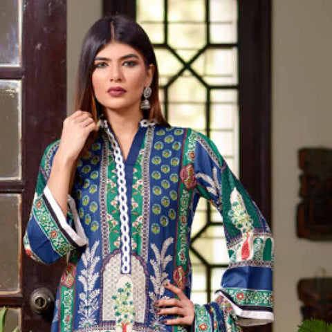 Riwaj Printed Lawn 3 Piece Un-Stitched Suit Vol 1 - 1 A