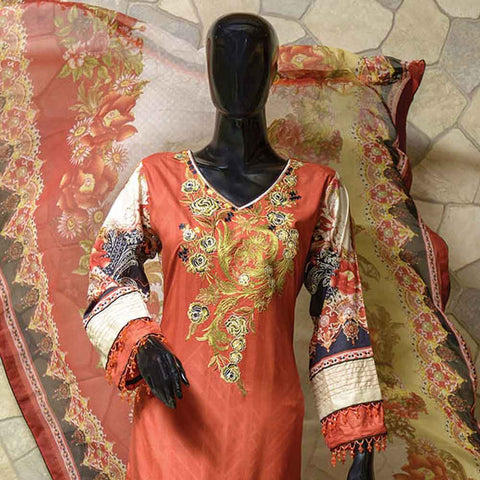 Chiragh Luxury Embroidered Un-Stitched Suit - 1A