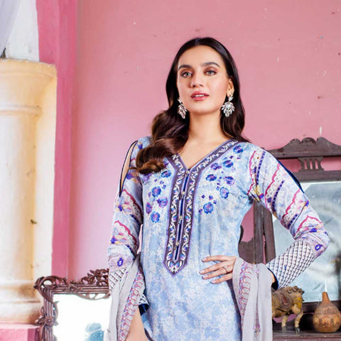 Malkah Embroidered Lawn 3 Piece Un-Stitched Suit - 02