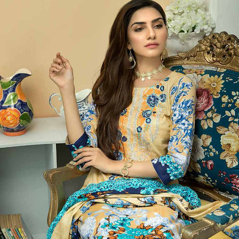 Zebtan Embroidered Cotton 3 Pieces Un-Stitched Suit Vol 01 - 02