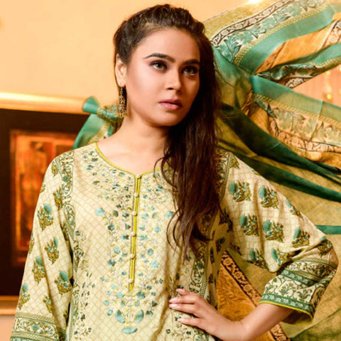 Bin Saeed Alishba Embroidered Lawn 3 Piece Un-Stitched Suit Vol 02 - A2