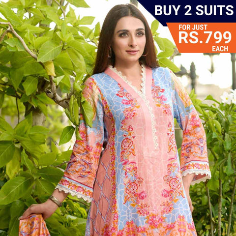 Three Star Printed Lawn Suit Vol 6 - 2 A - test-store-for-chase-value