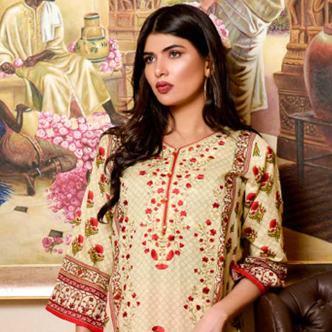 Bin Saeed Alishba Embroidered Lawn 3 Piece Un-Stitched Suit Vol 02 - B2
