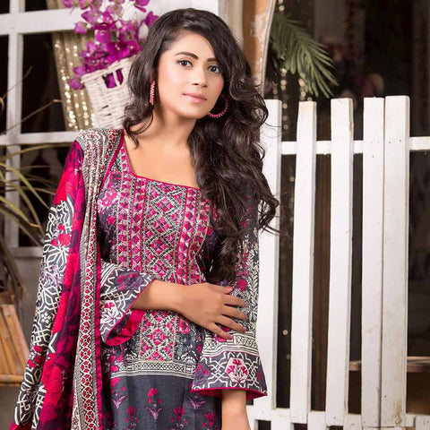 Iraar Embroidered Lawn 3 Piece Un-Stitched Suit - 2A