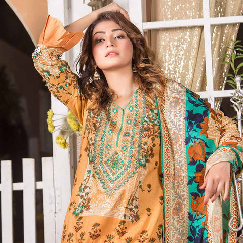 Iraar Embroidered Lawn 3 Piece Un-Stitched Suit - 2B