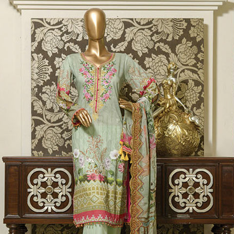 Chiragh Digital Luxury Embroidered Un-Stitched Suit - 2
