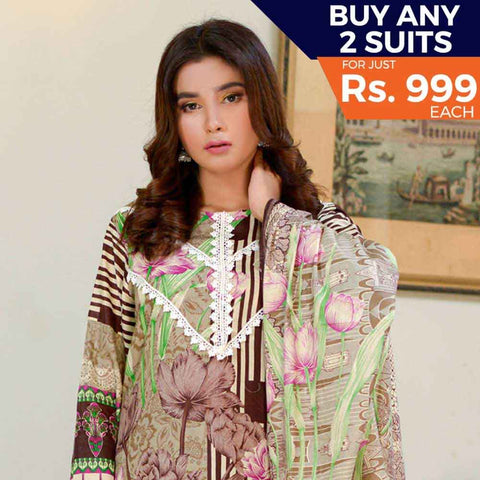 Three Star Printed Cotton 3 Piece Un-Stitched Suit - 2B