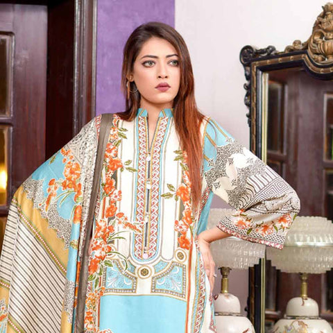 Riwaj Printed Lawn 3 Piece Un-Stitched Suit Vol 1 - 2 B