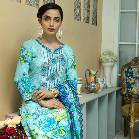 Zebtan Embroidered Cotton 3 Pieces Un-Stitched Suit Vol 01 - 03