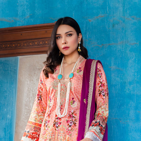 Maira Ahsan Embroidered Lawn 3 Piece Un-Stitched Suit - 03