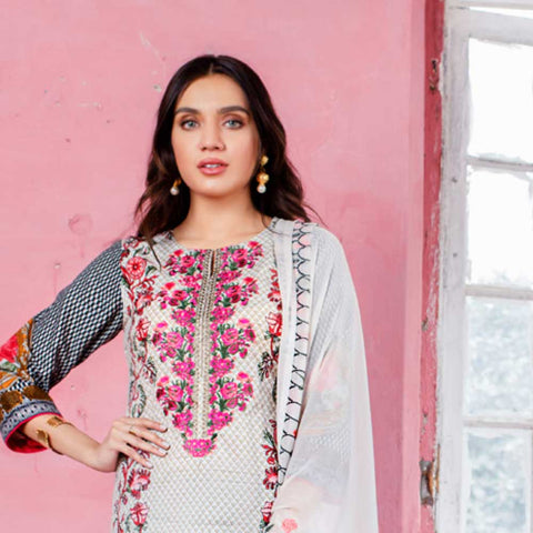 Malkah Embroidered Lawn 3 Piece Un-Stitched Suit - 03