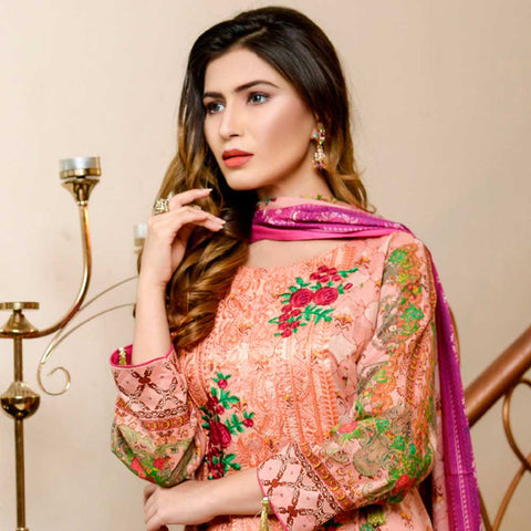 Bin Saeed Alishba Embroidered Lawn 3 Piece Un-Stitched Suit Vol 02 - A3