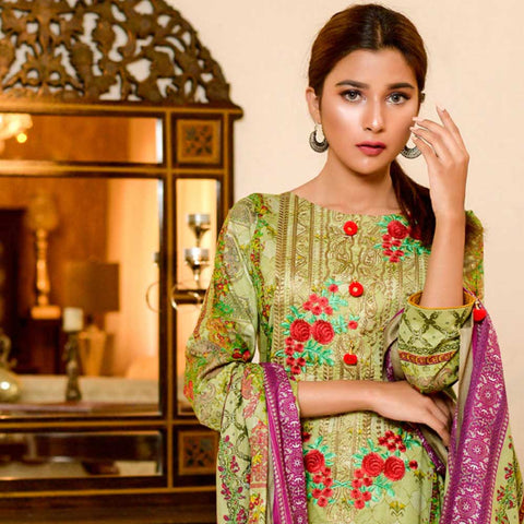 Bin Saeed Alishba Embroidered Lawn 3 Piece Un-Stitched Suit Vol 02 - B3