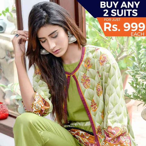 Libas Printed Cotton 3 Piece Un-Stitched Suit - 3A