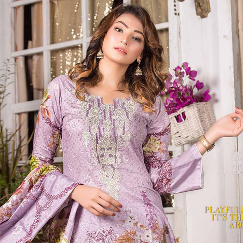 Iraar Embroidered Lawn 3 Piece Un-Stitched Suit - 3B