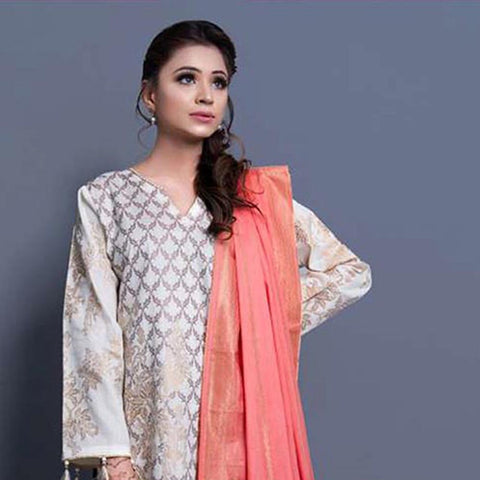 RA Jacquard Cambric 3 Piece Un-Stitched Suit Vol 1 - 3