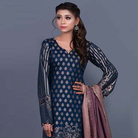 RA Jacquard Cambric 3 Piece Un-Stitched Suit Vol 2 - 3