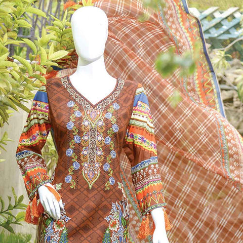Chiragh Luxury Embroidered Un-Stitched Suit - 3A