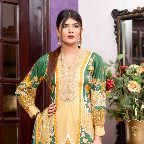 Riwaj Printed Lawn 3 Piece Un-Stitched Suit Vol 1 - 3 A