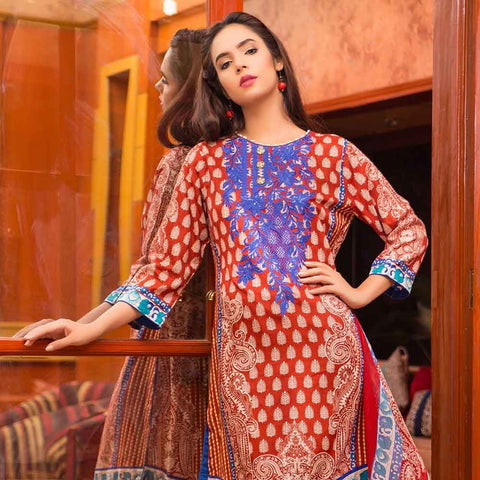 Exquisite Embroidered Cotton 3 Piece Un-Stitched Suit - 3A