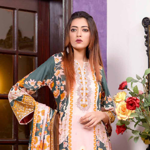 Riwaj Printed Lawn 3 Piece Un-Stitched Suit Vol 1 - 3 B
