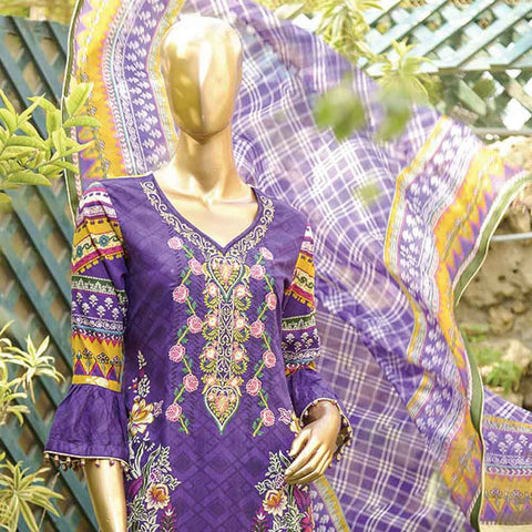 Chiragh Luxury Embroidered Un-Stitched Suit - 3B