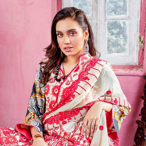Malkah Embroidered Lawn 3 Piece Un-Stitched Suit - 04