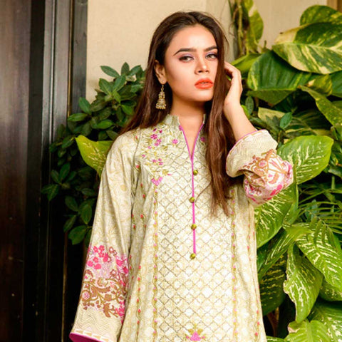 Bin Saeed Alishba Embroidered Lawn 3 Piece Un-Stitched Suit Vol 02 - A4