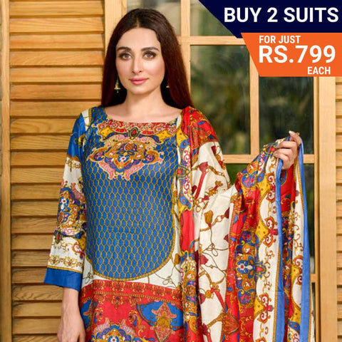 Three Star Printed Lawn Suit Vol 6 - 4 A - test-store-for-chase-value