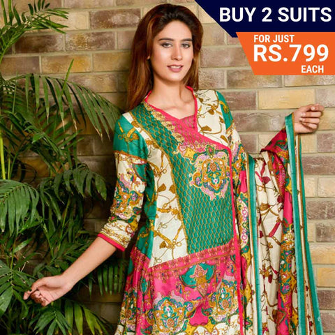 Three Star Printed Lawn Suit Vol 6 - 4 B - test-store-for-chase-value