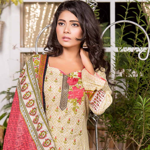 Iraar Embroidered Lawn 3 Piece Un-Stitched Suit - 4A