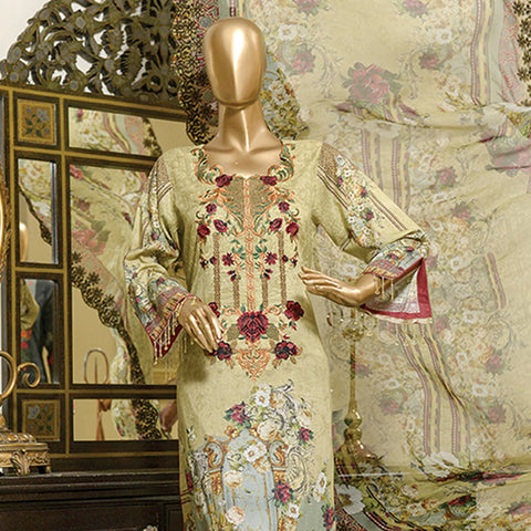 Chiragh Digital Luxury Embroidered Un-Stitched Suit - 4