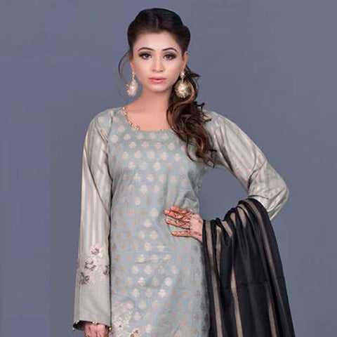 RA Jacquard Cambric 3 Piece Un-Stitched Suit Vol 2 - 4