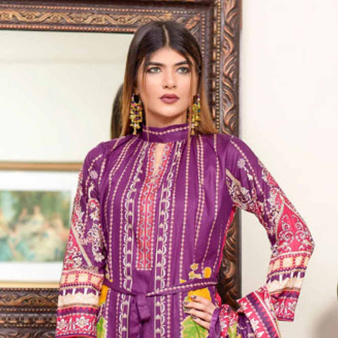 Riwaj Printed Lawn 3 Piece Un-Stitched Suit Vol 1 - 4 A