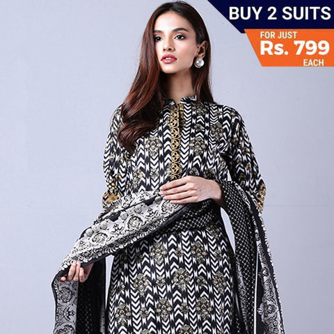 Sahil Black & White Printed Lawn Un-Stitched Suit 5