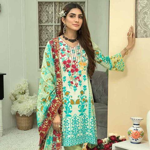 Zebtan Embroidered Cotton 3 Pieces Un-Stitched Suit Vol 01 - 05