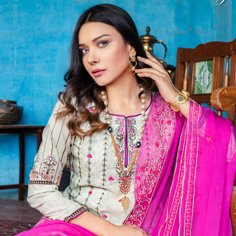Maira Ahsan Embroidered Lawn 3 Piece Un-Stitched Suit - 05