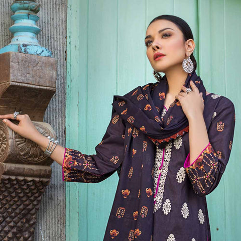 Regalia Digital Printed Embroidered Lawn 3 Piece Un-Stitched Suit - 05
