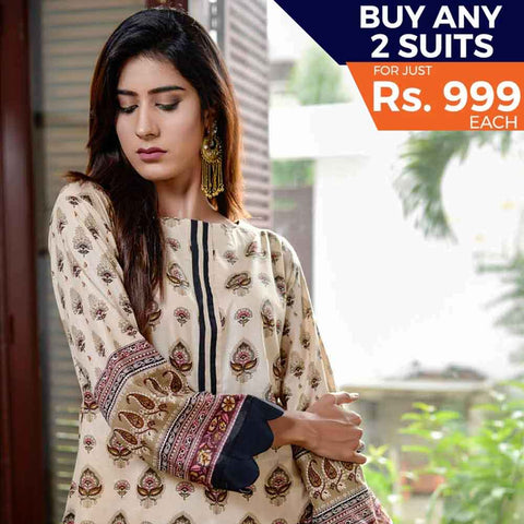 Libas Printed Cotton 3 Piece Un-Stitched Suit - 5A