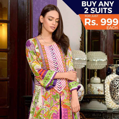 Three Star Printed Cotton 3 Piece Un-Stitched Suit - 5A