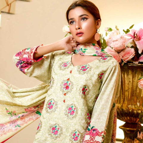 Bin Saeed Alishba Embroidered Lawn 3 Piece Un-Stitched Suit Vol 02 - A5