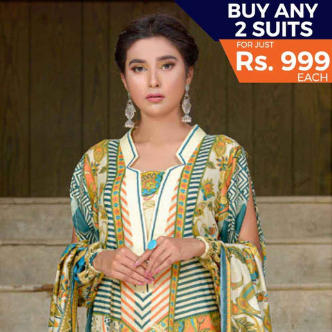 Three Star Printed Cotton 3 Piece Un-Stitched Suit - 5B