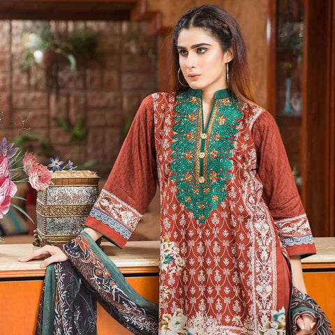 Exquisite Embroidered Cotton 3 Piece Un-Stitched Suit - 5B