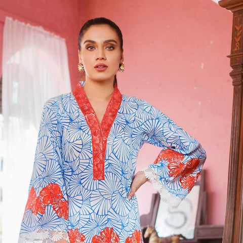 Malkah Embroidered Lawn 3 Piece Un-Stitched Suit - 06
