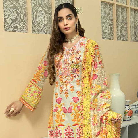 Zebtan Embroidered Cotton 3 Pieces Un-Stitched Suit Vol 01 - 06