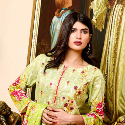Bin Saeed Alishba Embroidered Lawn 3 Piece Un-Stitched Suit Vol 02 - A6