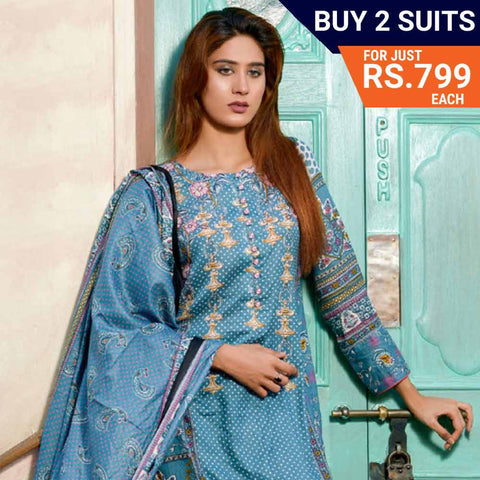 Three Star Printed Lawn Suit Vol 6 - 6 B - test-store-for-chase-value